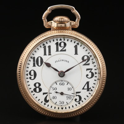 1928 Illinois Bunn Special Railroad Grade 10K Gold Filled Pocket Watch