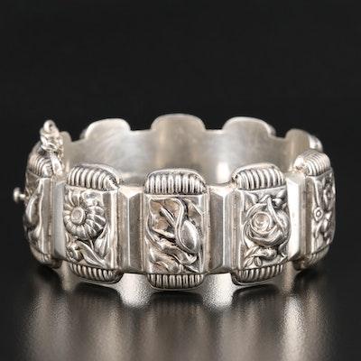 Vintage Portuguese 833 Silver Repoussé Floral Bangle