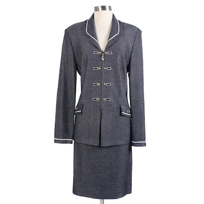 St. John Collection by Marie Gray Navy and White Zipper-Front Skirt Suit