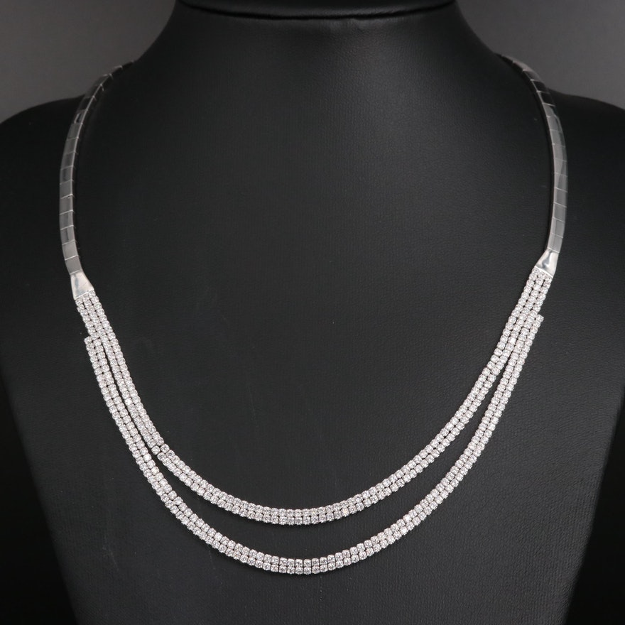 Sterling Silver Cubic Zirconia Double Strand Necklace