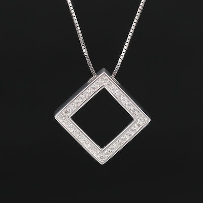 14K Diamond Halo Square Pendant Necklace