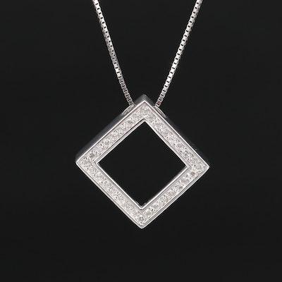 14K Diamond Halo Square Pendant Necklace