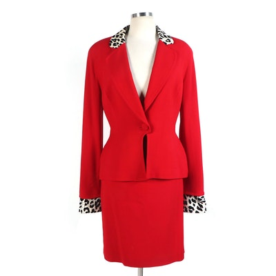 Christian Dior Skirt Suit Set in Red Wool with Leopard Print Cotton Trim
