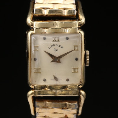 Lord Elgin Hinged Lugs 14K Gold Filled Stem Wind Wristwatch