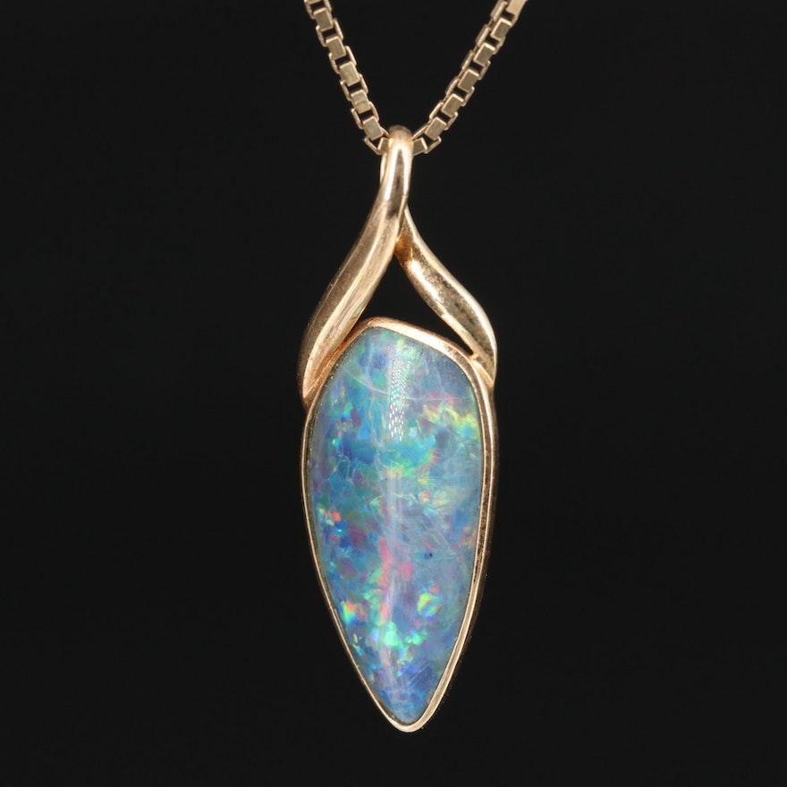 14K Opal Triplet Pendant Necklace