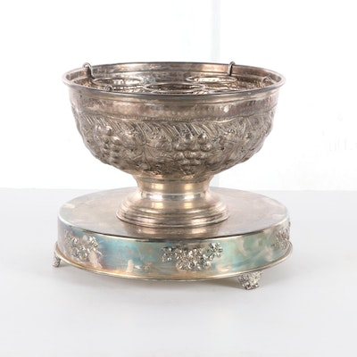 Repoussé Silver Plate Wine Chilling Bowl and Plateau