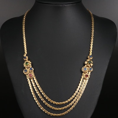 Vintage 18K Sapphire and Tourmaline Festoon Necklace