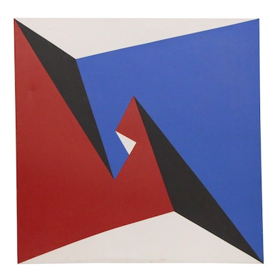 Lore Behrendt Geometric Acrylic Painting, Late 20th Century