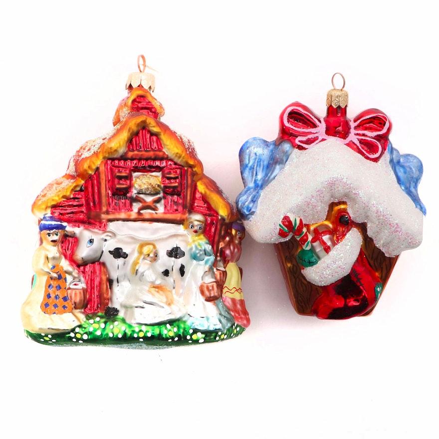 Christopher Radko Glass Barn and Birdhouse Christmas Ornaments