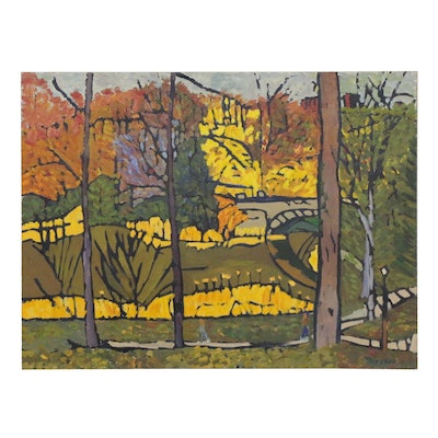 Jerald Mironov Post-Impressionist Style Landscape Oil Painting, 1995