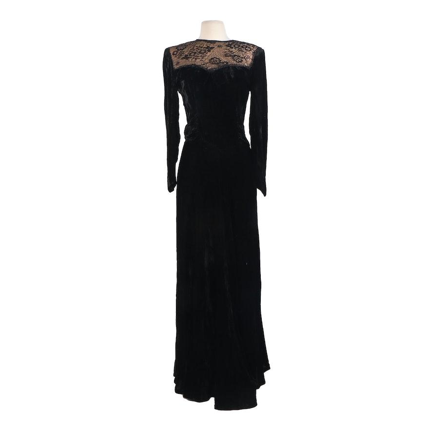 Valentino Boutique Black Velvet Evening Dress with Lace Illusion Neckline