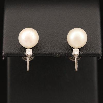 Vintage 14K Pearl and Diamond Screw Back Earrings