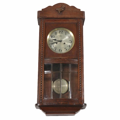 Oak Glass Paneled Wall Clock, Late 20th Century