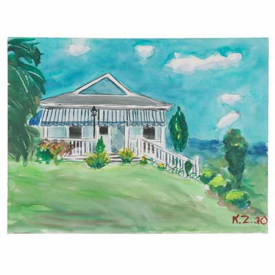 "Kathleen Zimbicki ""Rennerdale House"" Series Watercolor Painting, 2020"