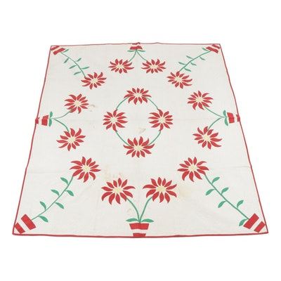 Handmade Applique Red Peony Flowers on Quilt