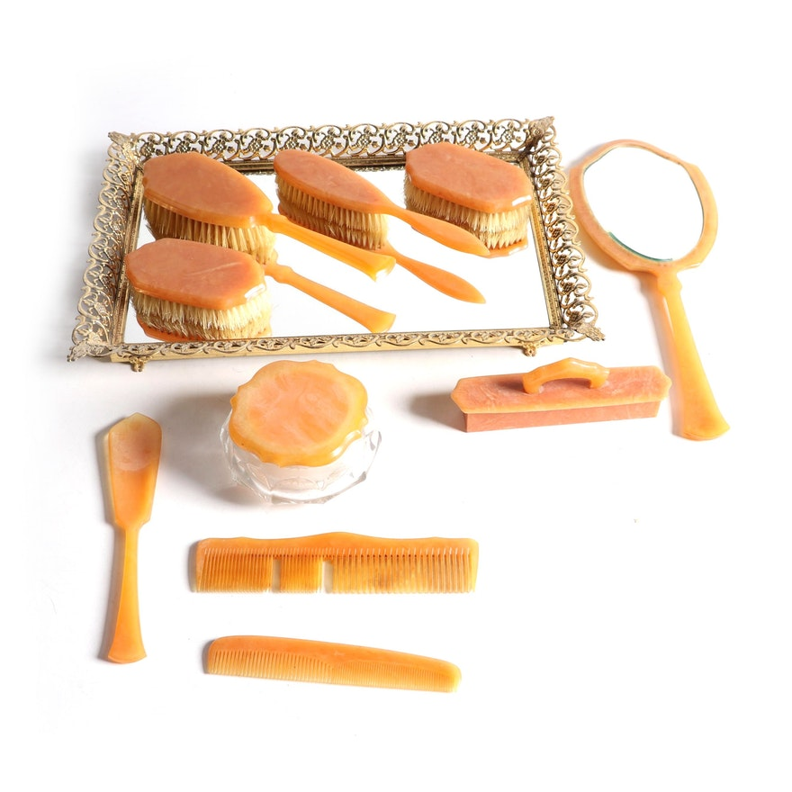 """Art Deco """"Acwalite"""" Enameled Celluloid Vanity Set , Early to Mid 20th Century"""