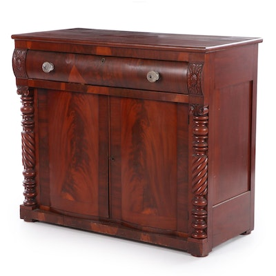 American Empire Mahogany and Walnut Wood Buffet with Glass Knobs, 19th C