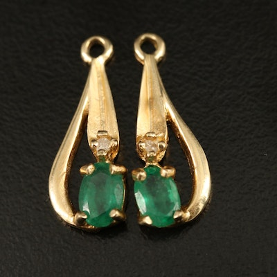 14K Emerald and Diamond Earring Enhancers