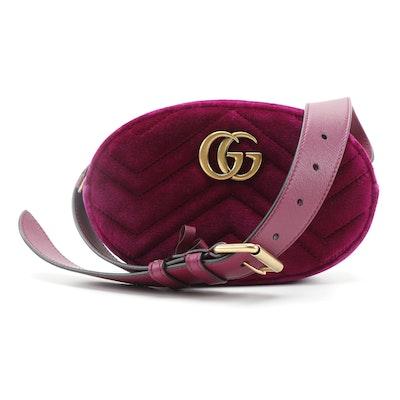 Gucci GG Marmont Belt Bag in Matelassé Velvet