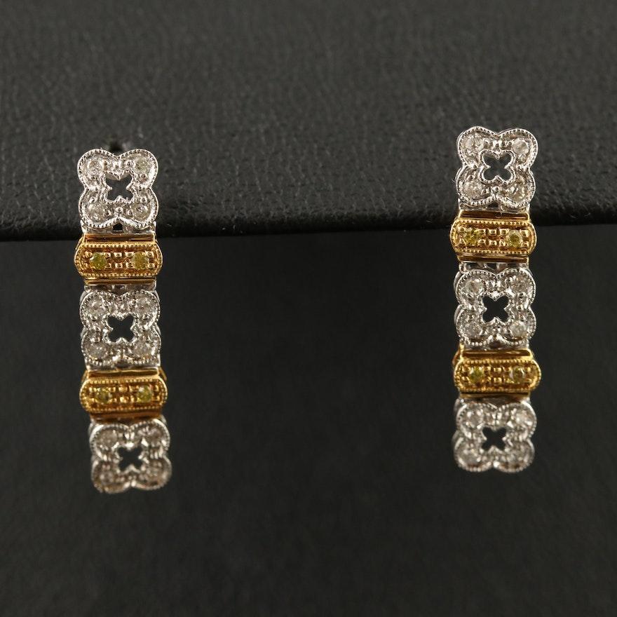18K Two-Tone Diamond Dangle Earrings