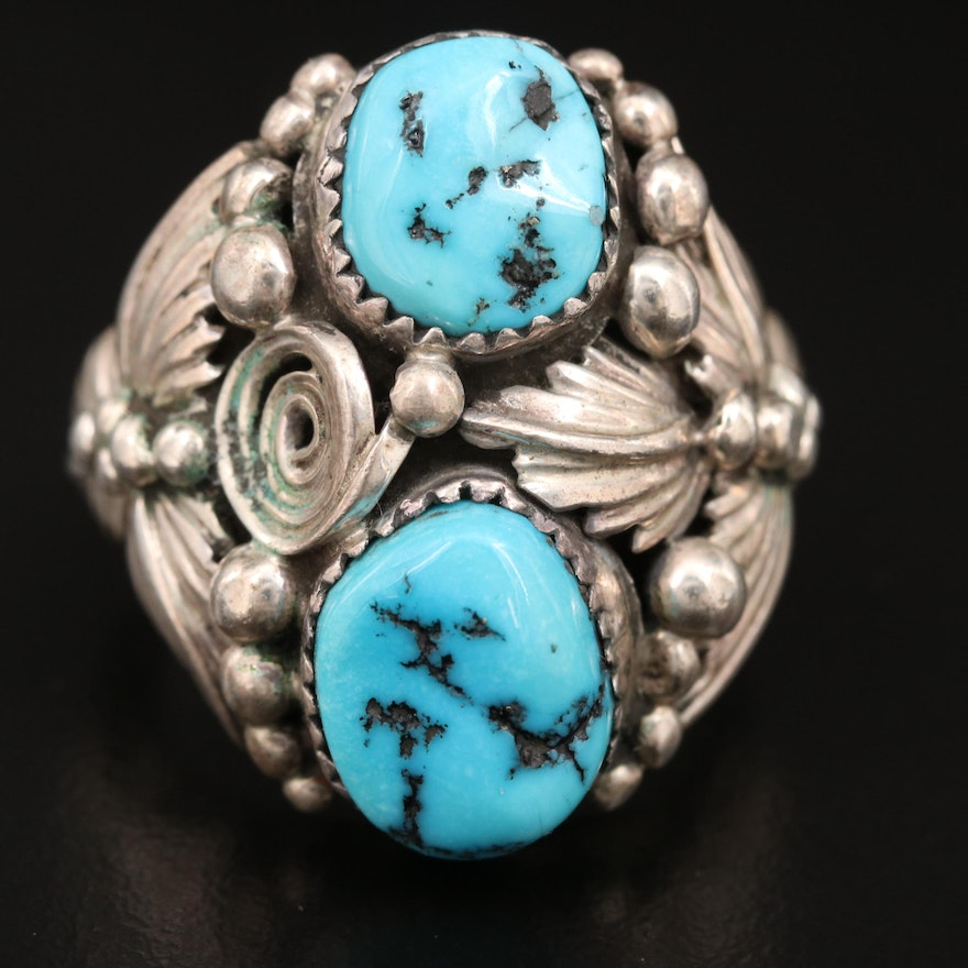 Southwestern Artisan Signed Sterling Turquoise Leaf Ring