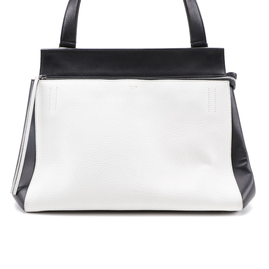 Céline Edge Bag in Black and White Leather