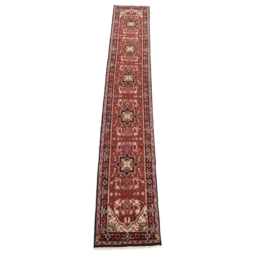 2'6 x 15'11 Hand-Knotted Indo-Persian Heriz Runner, 2010s
