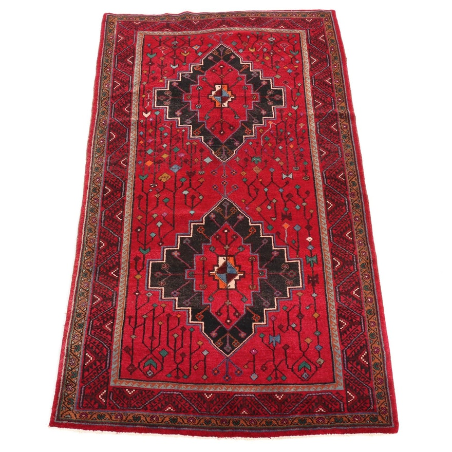 5'2 x 9'4 Hand-Knotted Persian Nahavand Rug, 1970s