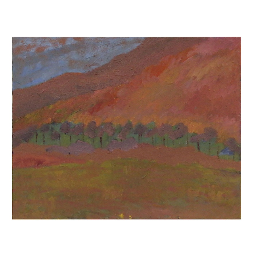 Jerald Mironov Abstract Landscape Oil Painting, Late 20th Century