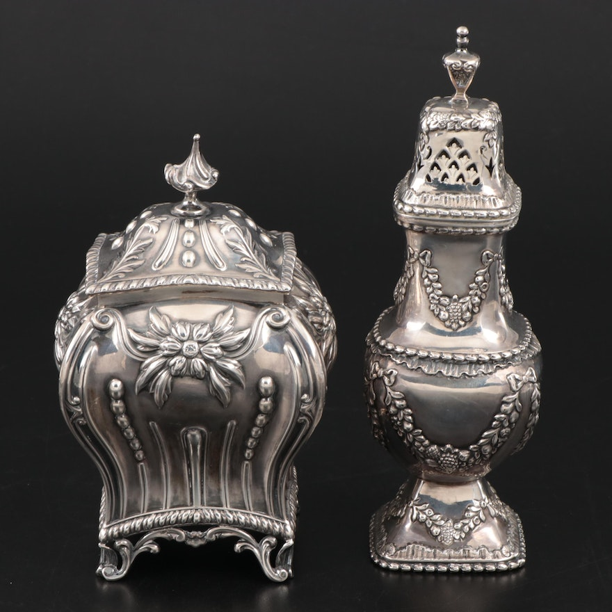 English Sterling Silver Tea Caddy and Sugar Caster, Early 20th Century