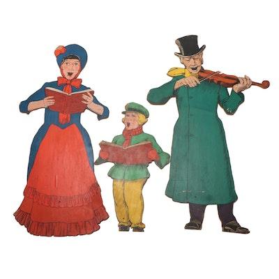 Large Wooden Christmas Caroler Cutouts, Mid-20th Century