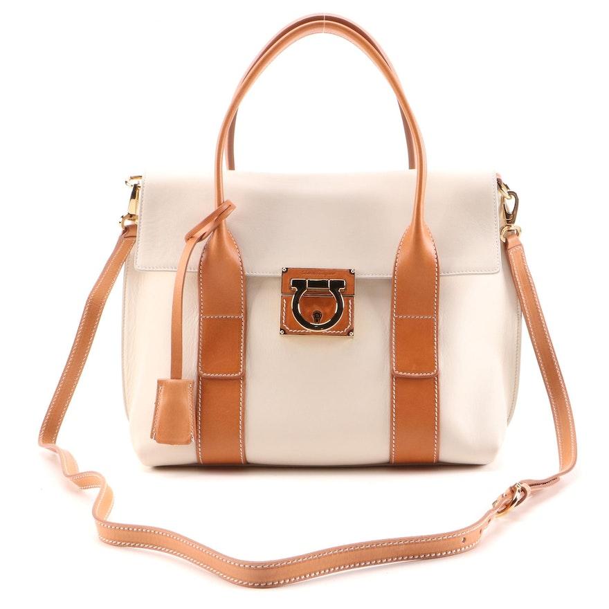 Salvatore Ferragamo Gancini Two-Way Handbag in Off-White and Tan Leather
