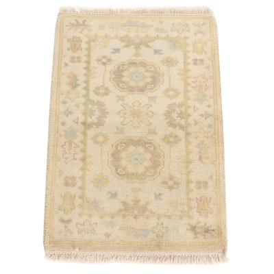 2'1 x 3'3 Hand-Knotted Indo Turkish Oushak Rug, 2010s