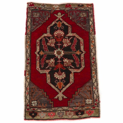 1'8 x 3' Hand-Knotted Turkish Village Rug, 1920s