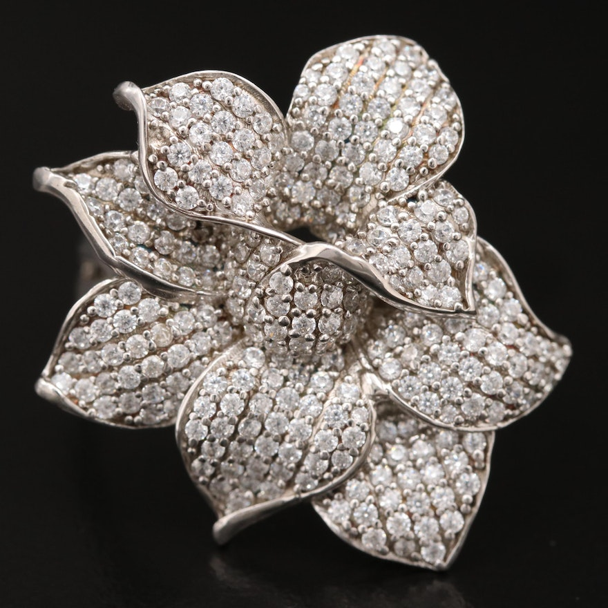 Sterling Silver Cubic Zirconia Floral Ring