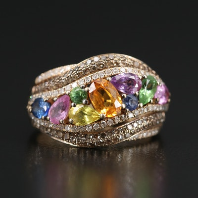 14K Sapphire, Tsavorite and Diamond Crossover Ring