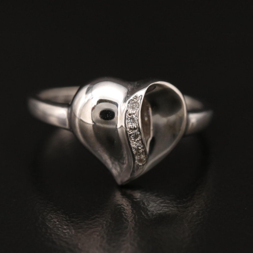 14K Diamond Heart Ring