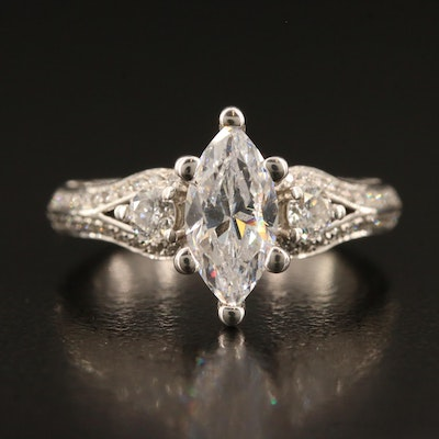 Verragio 18K Cubic Zirconia and Diamond Semi-Mount Ring with Box