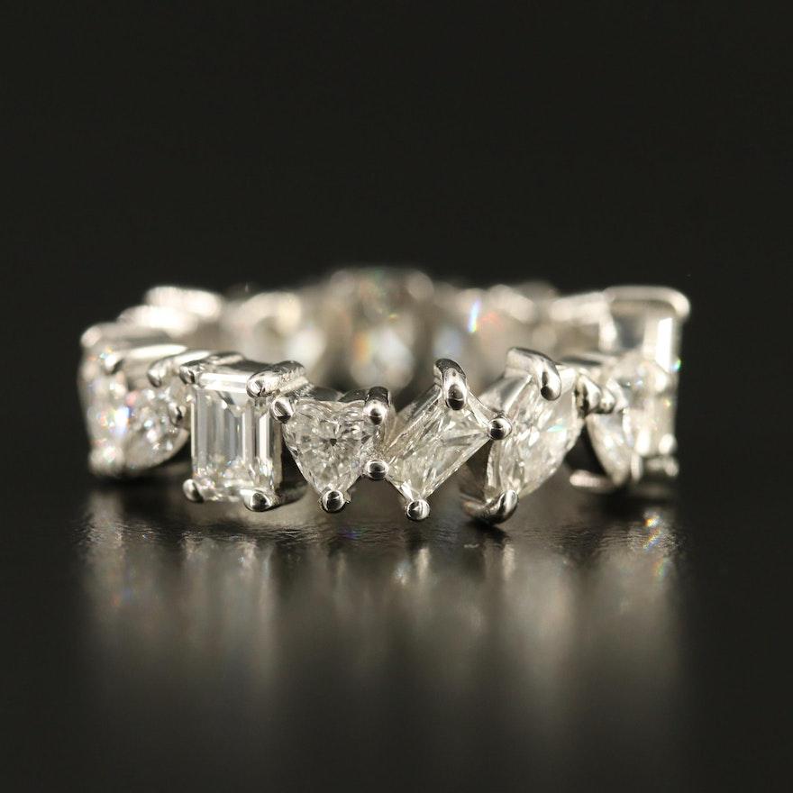 Platinum 4.51 CTW Mixed Cut Diamond Eternity Band