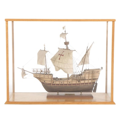 "Mantua ""Santa Maria 1492"" Ship Model in Custom Made Glass Display Case"