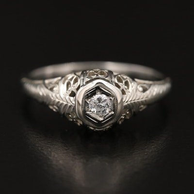 10K and 18K Open Work Diamond Solitaire Ring