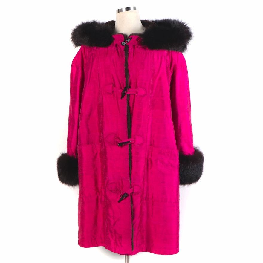 Koslow's Sheared Beaver Fur Lined Magenta Dupioni Jacket with Fox Fur Trim