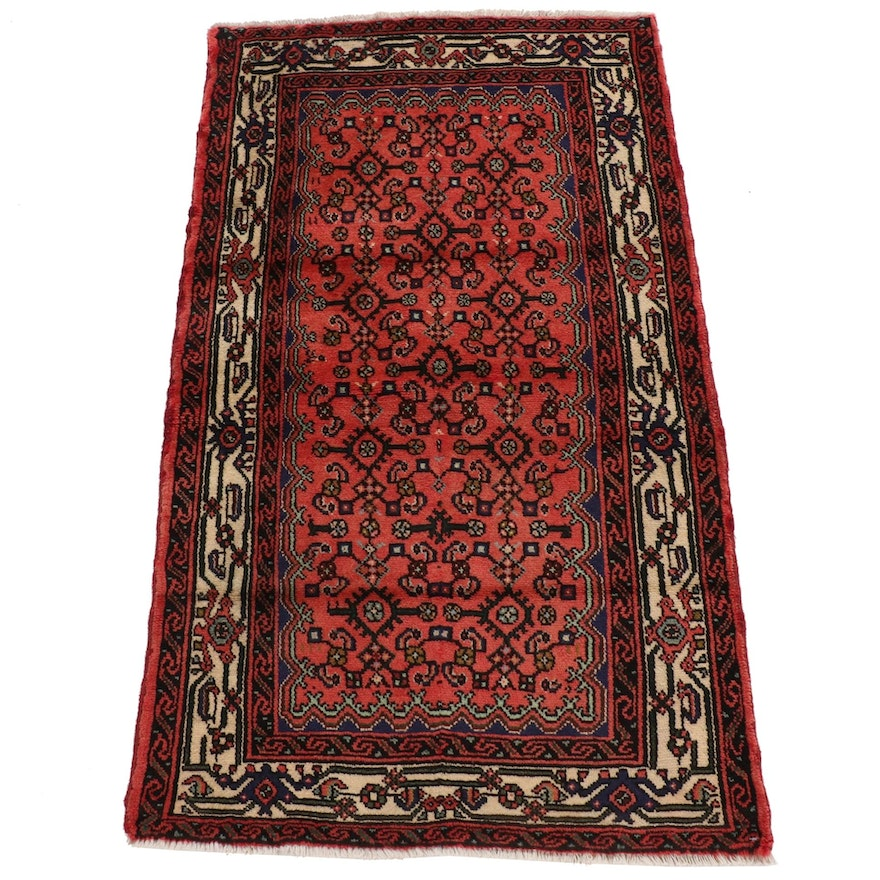 2'10 x 5'1 Hand-Knotted Persian Malayer Rug, 1970s