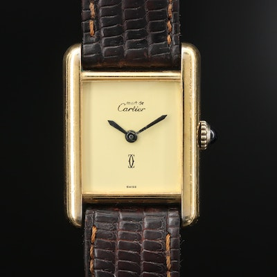Vintage Cartier Tank Vermeil Stem Wind Wristwatch