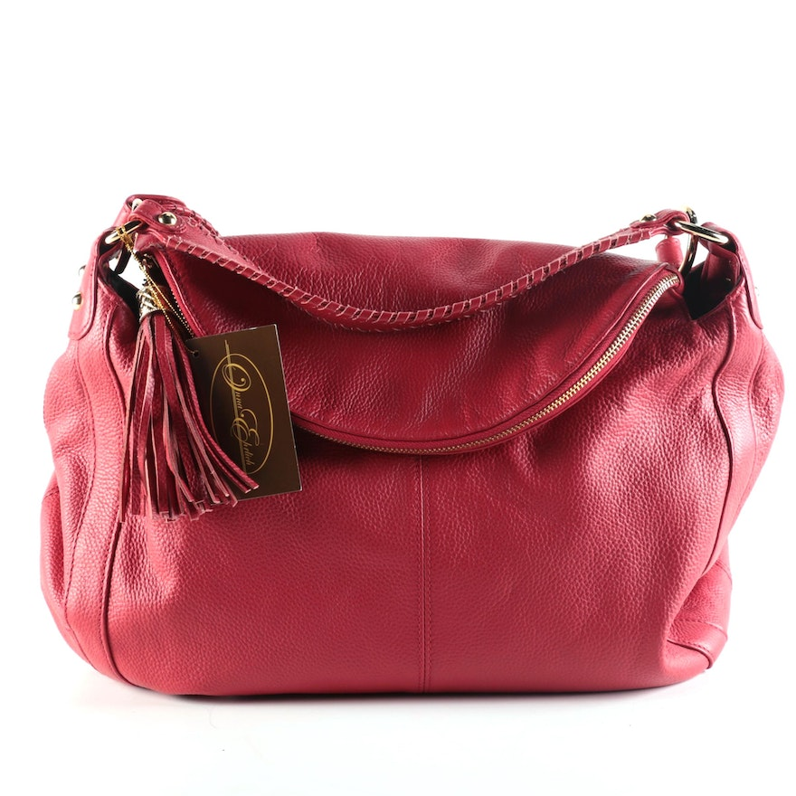 Onna Ehrlich Rachel Hobo Bag in Red Pebbled Leather with Tassel