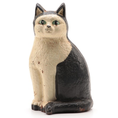 "Hand-Painted ""Kitty Face"" Cast Iron Doorstop, 1949"