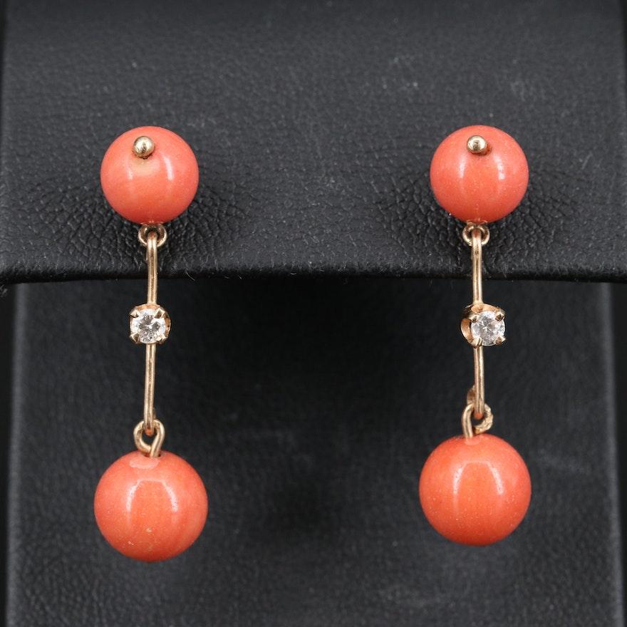 14K Diamond and Imitation Coral Dangle Earrings