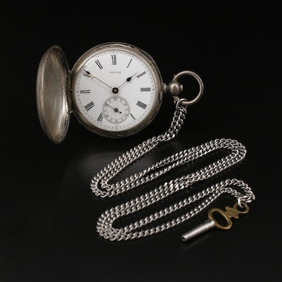 Antique Pateck Key Wind & Set Pocket Watch With Chain Fob