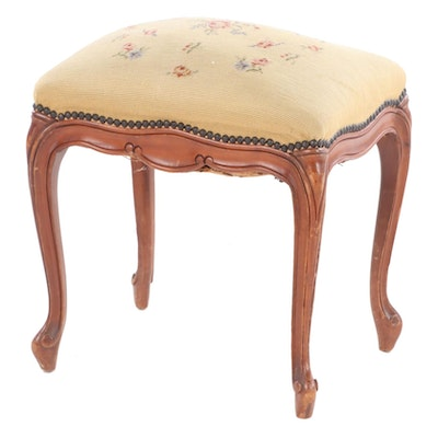 Louis XV Style Needle Point Upholstered Ottoman with Mahogany Frame, Early 20th