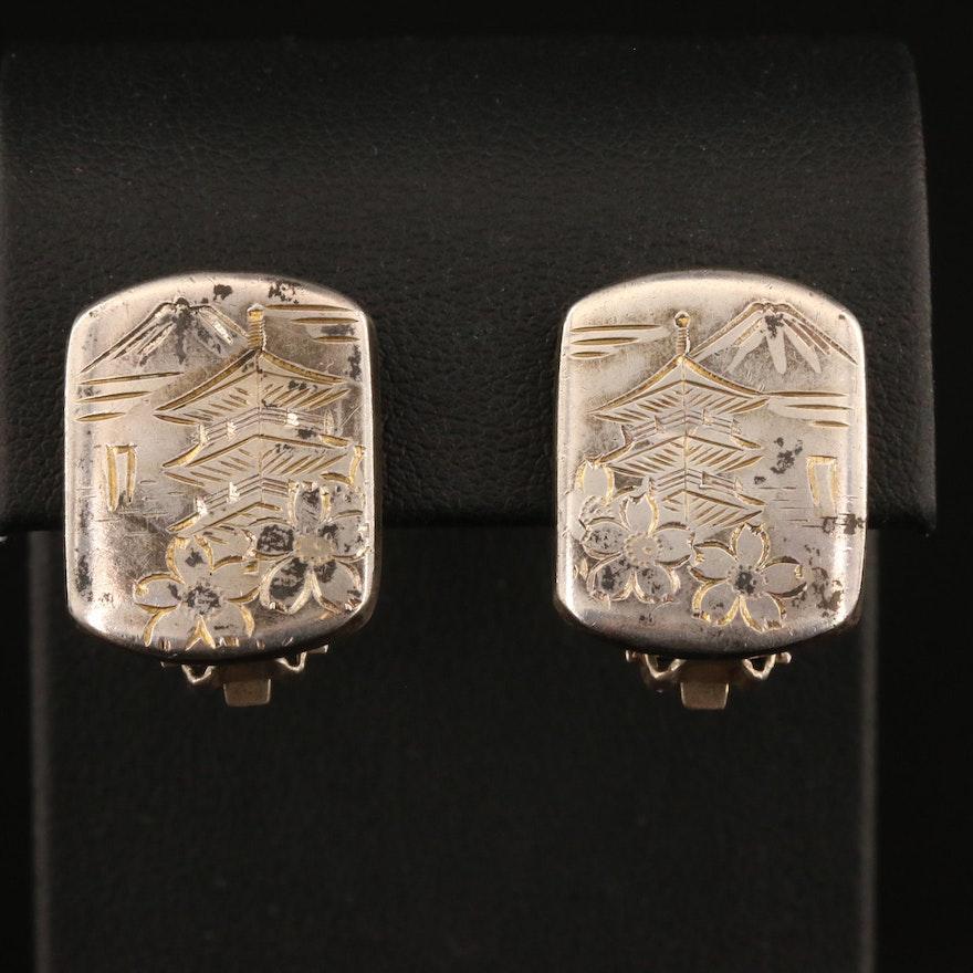 Sterling Silver Pagoda Earrings for Non Pierced Ears